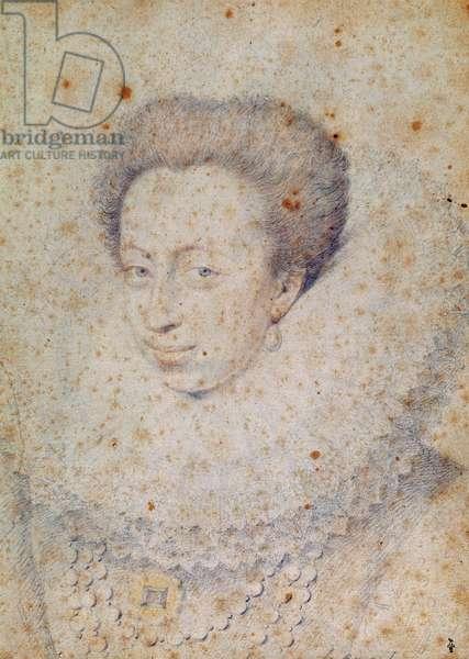 Unknown Lady, maybe Marguerite de Lorraine, duchesse de Joyeuse or Christine de Lorraine, c.1580 (pencil on paper)