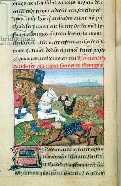 Ms 869/522 fol.28v Theodoric (487-534) in Thuringen, 1217-37 (vellum)