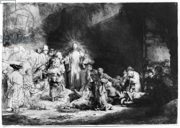 Jesus Preaching, known as The Hundred Guilders Print, 1646 (etching with drypoint) (b/w photo)