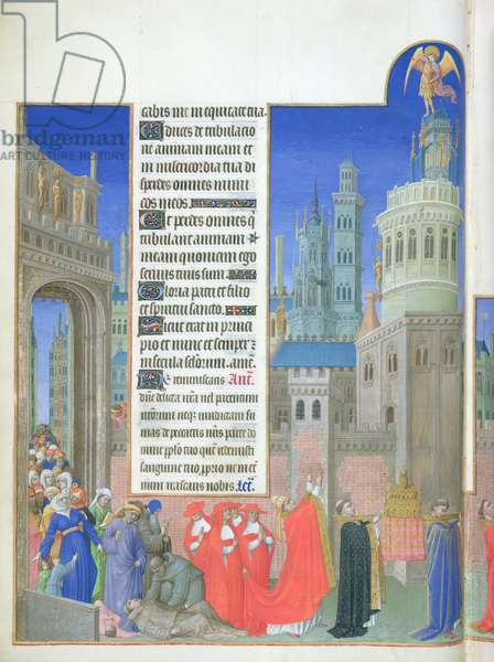 Ms 65/1284 f.71v Procession of Gregory the Great to end the plague in Rome, from the 'Tres Riches Heures du Duc de Berry' (left hand side) (vellum)