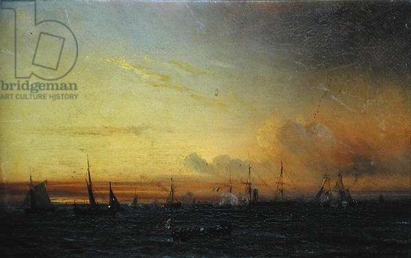 French Fleet at Treport, 1858 (oil on canvas)