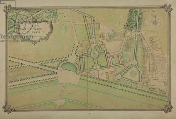 Plan of the Ménagerie of Chantilly (pen & w/c on paper)