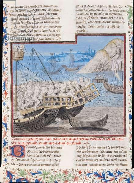Ms 770/1055 fol.54v Julius Caesar (101-44 BC) Defeating the Bretons, compiled according to Lucanus, Suetonius and Sallust, 1480 (vellum)