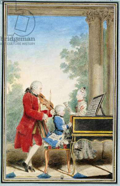 Leopold Mozart (1719-87) and his Children Wolfgang Amadeus (1756-91) and Maria Anna (1751-1829) 1762 (w/c on paper)