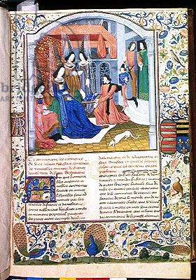 Ms 873/501 f.1 Jean Froissart Presenting his Book to Marguerite II, Countess of Flanders and Duchess of Burgundy, from Froissart's Chronicle, c.1472 (vellum)