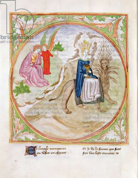 Ms. 28/1378 fol.101v The Prostitute Seated on the Beast, from 'Histoire Extraite de la Bible et Apocalypse' (vellum)