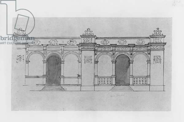 Chateau de Chantilly, design for the Duban gallery (pen & ink & wash on paper) (b/w photo)