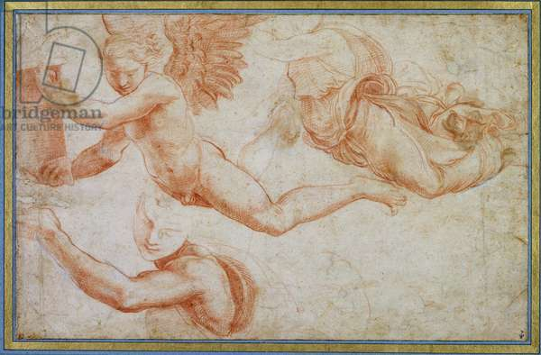 Three Studies of Angels, copy of a study by Raphael for Santa Maria della Pace in Rome (red chalk on paper)