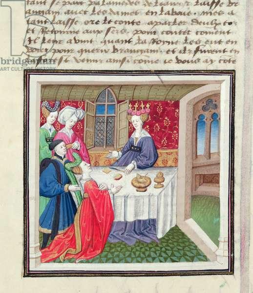 Ms 648/404 fol.56r Brangien brought before Queen Iseult, from the 'Roman des Chevaliers Galaad, Tristan et Lancelot' (vellum)