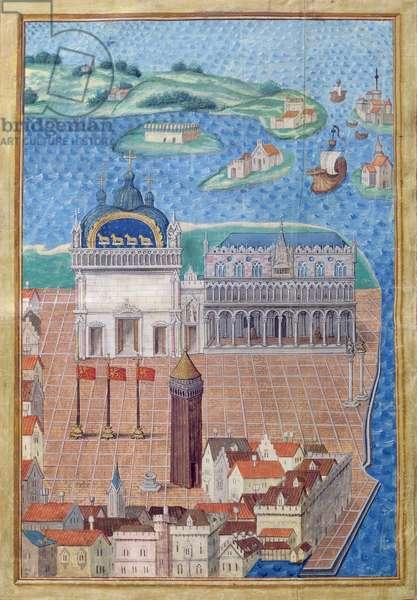 Ms 799/1344 fol.4v St. Mark's Square, from 'Description....de la Seigneurie de Venise' (vellum)