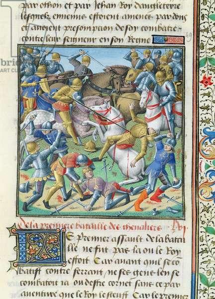 Ms 722/1196 fol.408r Battle Scene, from Le Miroir Historial, by Vincent de Beauvais (vellum)