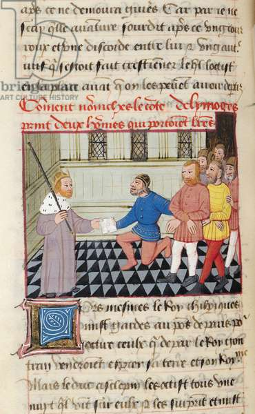 Ms 869/522 fol.67v The Count of Limoges with Two Enemy Prisoners, 1217-37 (vellum)