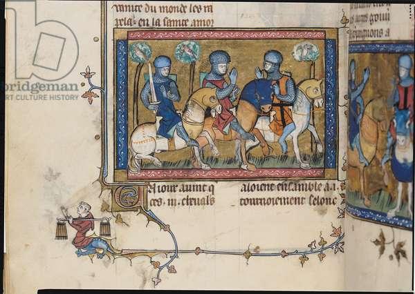 Ms 137/1687 f.144v Three Knights Riding Through a Wood, from Recueil de Traites de Devotion, 1371-78 (vellum)