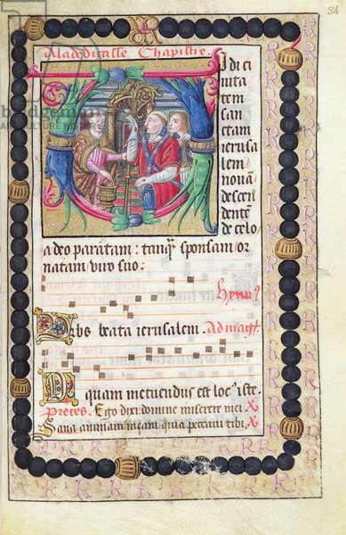 Ms 48/1605 fol.34r, Dedication of the Abbey and sheet music, from 'Rituel et Cérémonial à l'Usage de Renée de Bourbon, Abbesse de Fontevrault' (vellum)