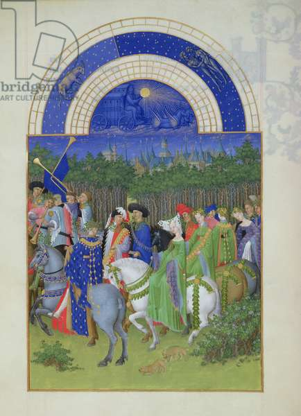 Ms 65/1284 f.5v May: courtly figures on horseback, from the 'Tres Riches Heures du Duc de Berry' (vellum)