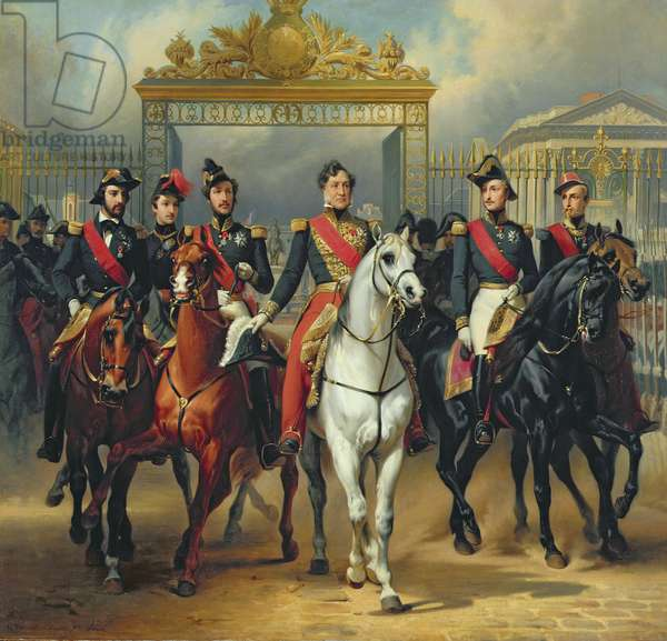 King Louis-Philippe (1773-1850) and his Sons leaving the Chateau of Versailles on Horseback, copy of a painting by Horace Vernet (oil on canvas)