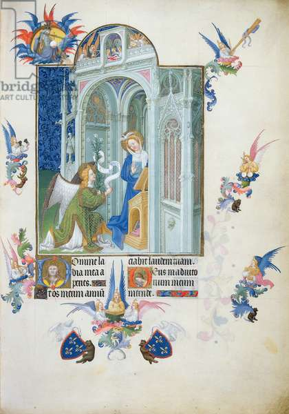 Ms 65/1284 f.26r The Annunciation, from Tres Riches Heures du Duc de Berry, early 15th century (vellum)