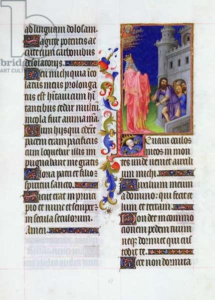 Ms. 65/1284 fol.49r Psalm 120, Deliverance of the Captives, from 'Très Riches Heures du Duc de Berry' (vellum)