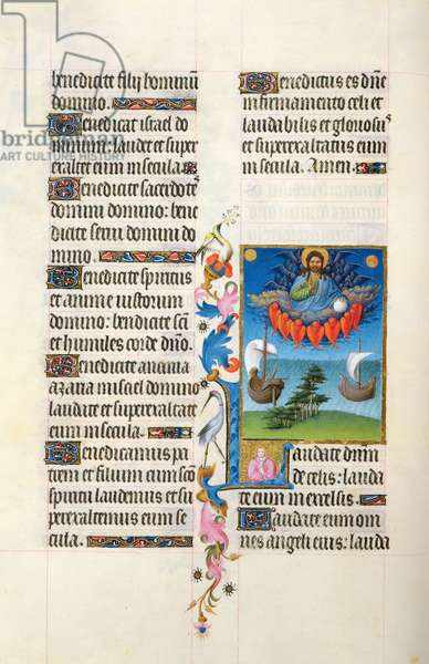 Ms 65/1284 fol.41v Psalm 148: God the Father above the earth and waters, from the Tres Riches Heures du Duc de Berry, early 15th century (vellum)