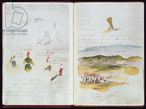 fol.16 v, 17 r, Group of riders climbing a hill, from 'Album of a Voyage to Spain, Morocco and Algeria', 1832 (w/c on paper)