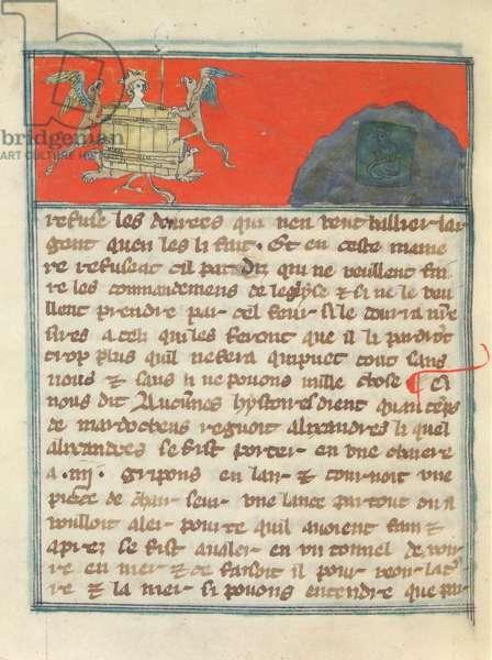 Ms 26/1078 fol.177v Ascension and Immersion of Alexander the Great (356-323 BC) from 'Composition de la Saint Ecriture ou Le Ci Nous Dit', c.1340 (vellum)
