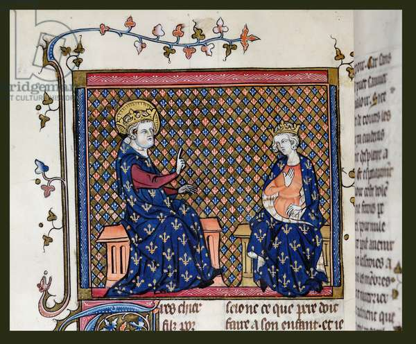 Ms 137/1687 fol.119v St. Louis giving instructions to his son Philip III (1245-85) from the 'Collection of Treatise on Devotion, (c.1371-78)' (vellum)