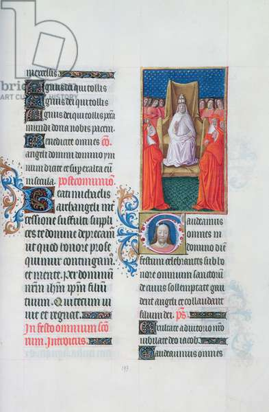Ms 65/1284 f.197r. Pope blessing the cardinals, from the 'Tres Riches Heures du Duc de Berry' (vellum)