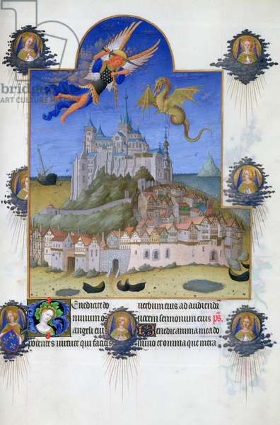 Ms 65/1284 f.195r St. Michael defeating the dragon above Mont St. Michael, from the 'Tres Riches Heures du Duc de Berry' (vellum)