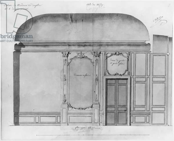 Dressing room of Dauphine Marie-Josephe de Saxe (1731-67) at Versailles, elevation of the side opposite the fireplace, South wing, April 1744 (pencil on paper)