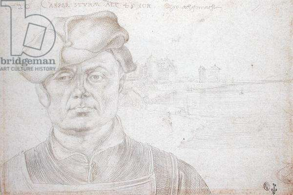 Caspar Sturm (1475-1548) with River Landscape, verso of 'The Travel to the Netherlands' 1520 (silverpoint on paper)