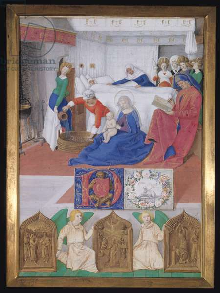 Ms.Fr.71 fol.7 The Birth of St. John the Baptist, from Hours of the Virgin (vellum)