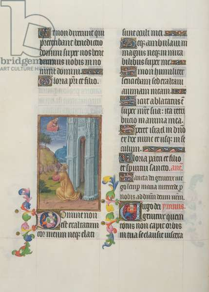 Ms. 65/1284 fol. 62r David, illustration of Psalms, from 'Très Riches Heures du Duc de Berry' (vellum)