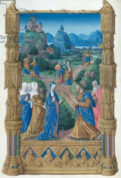 Ms 65/1284 fol.122v The Apostles leaving the Virgin to spread the Word of Christ, from the 'Tres Riches Heures du Duc de Berry' (vellum)