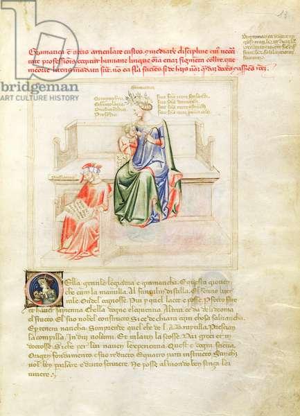Ms 599/1426 fol.7r Grammar and Priscian, from 'Panegyric of Bruzio Visconti' written by Bartolomeo da Bologna di Bartoli (fl.1374) (vellum)