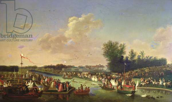 Deer Hunt in the Park at Chantilly for Paul I (1754-1801) and Maria Feodorovna (1759-1828) 12th June 1782 (oil on canvas)