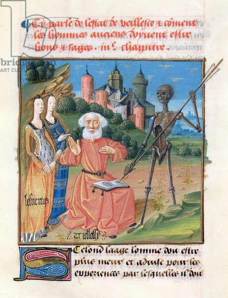 Ms 297/1338 fol.101r Old Age, from the Book of Good Morals, by Jacques le Grant (1360-1415) (vellum)