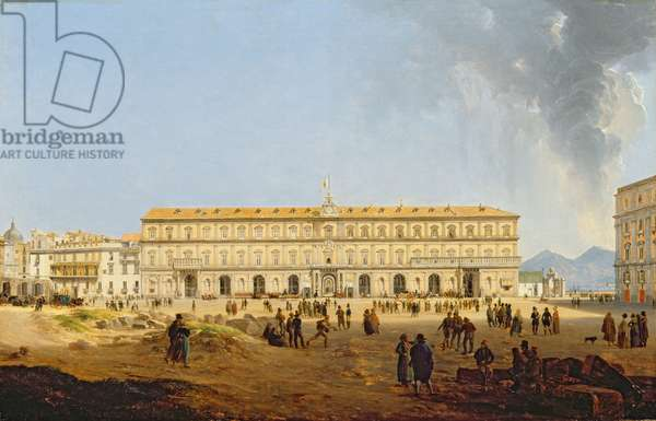 View of the Palazzo Reale, Naples (oil on canvas)
