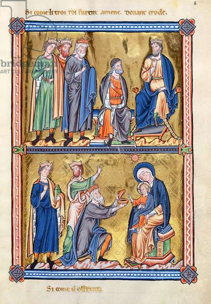 Ms 9/1695 fol.17 The Three Kings with Herod and Adoration of the Magi, from the 'Psautier d'Ingeburg de Danemark', c.1210 (vellum)