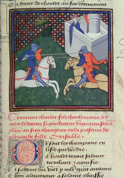 Ms 490/465 f.78r Fight between Ogier the Dane and Charlot watched by a woman, from the Story of Ogier the Dane (vellum)