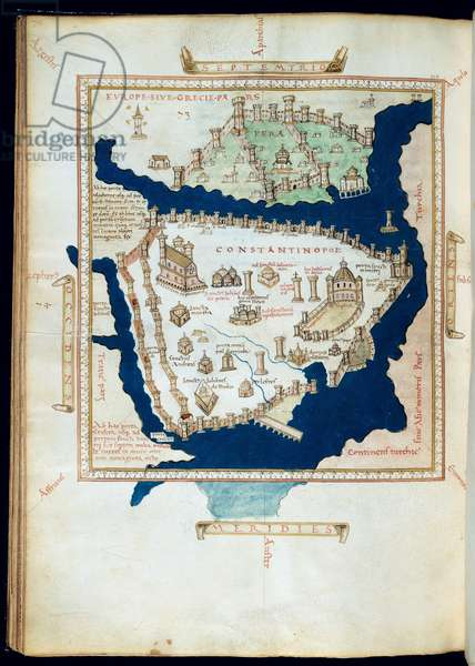 Plan of Constantinople, from a Portulan Atlas of America, Africa and Europe, after a map by Henricus Martellus (vellum)