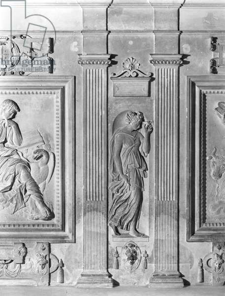 Charity, detail from the chapel altar of Chateau d'Ecouen, c.1544-52 (marble) (b/w photo)