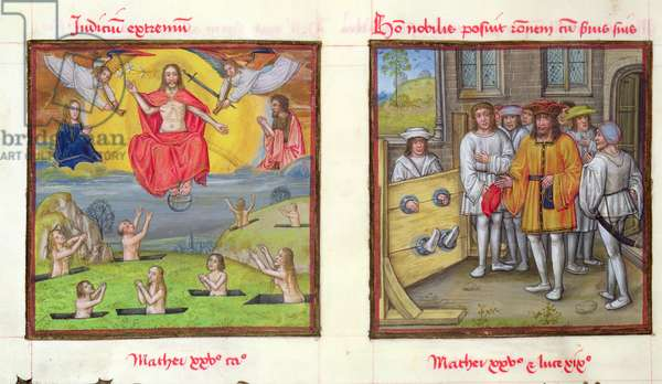 Ms 139/1363 fol.41v The Last Judgement and The Slothful Servant from the Parable of the Talents, from 'Le Miroir de l'Humaine Salvation' (vellum)