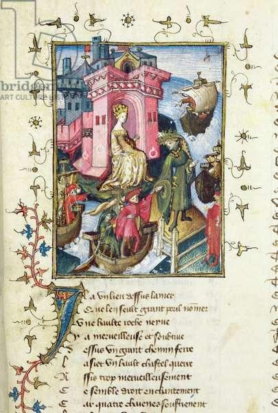 Ms 494/567 fol.13 The castle on an island in the sea, from 'Le Livre de la Mutation de Fortune' by Christine de Pisan (1365-1430) (vellum)