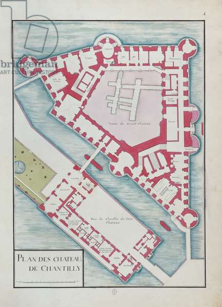 Ground floor, Château de Chantilly, fol. 4 of the Atlas du Comte du Nord, 1784 (ink & w/c on paper)