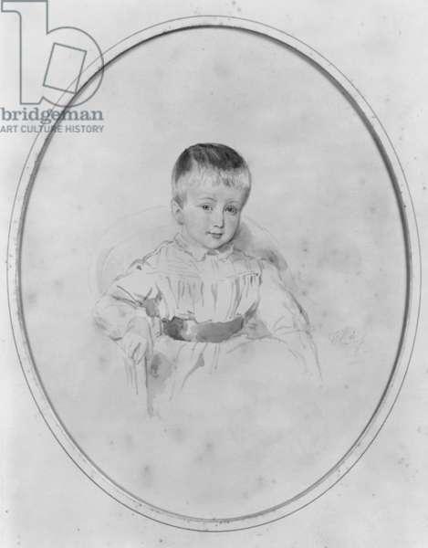 Portrait of Louis Philippe d'Orleans, Prince de Conde, 1848 (black lead on paper) (b/w photo)