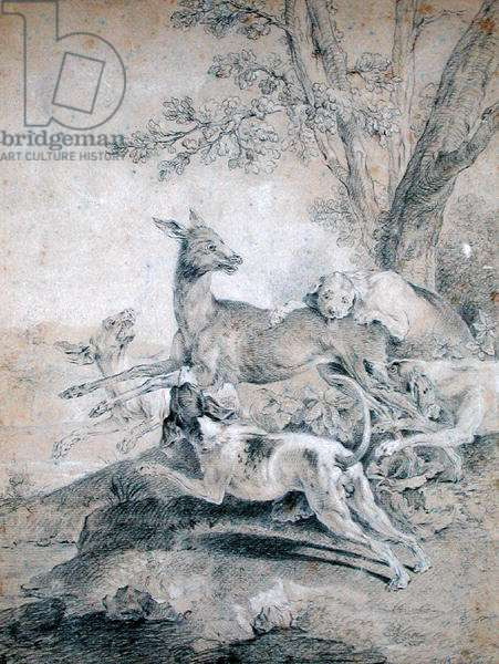 The Doe Hunt (black chalk on paper)