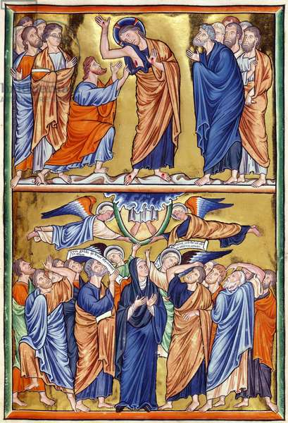 Ms 9/1695 f.31 Christ and St. Thomas and the Ascension, from the 'Psautier d'Ingeburg de Danemark', c.1210 (vellum)