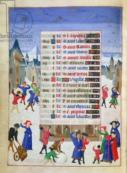 Ms 76/1362 f.12v December: Street Scene in the Snow, from the 'Hours of the Duchess of Burgundy', c.1450 (vellum)