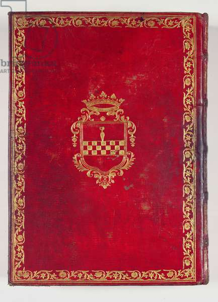 Ms 65/1284 Back cover of the 'Tres Riches Heures du Duc de Berry' with the coat of arms of Ambrogio Spinola (1569-1630) (moroccan leather) (see also 208478)