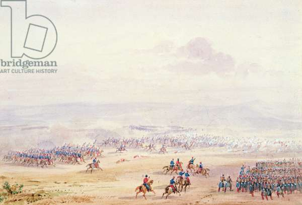 Battle of Isly in 1844, detail of the left hand side (w/c on paper)